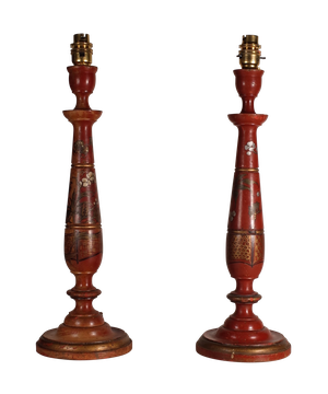 Pair of Lacquered Wooden Table Lamps