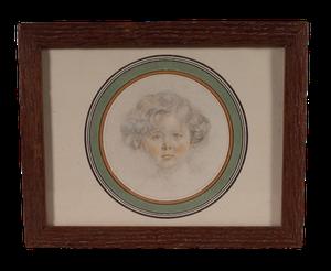 Edwardian Pencil Portrait of Girl