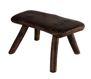 Welsh Folk Art Milking Stool with Traces of Original Paint