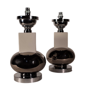 Pair of Ceramic and Chrome Table Lamps