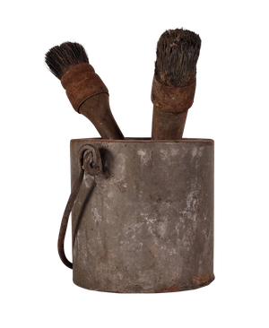 Galvanised Paint Pot and Brushes