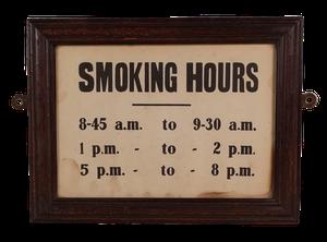 Oak Framed Smoking Hours Sign