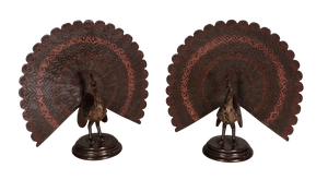 Pair of Cold Painted Anglo-Indian Bronze Peacocks