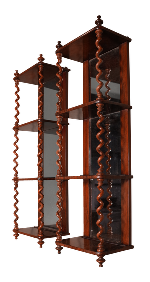 Pair of Rosewood Mirror Backed Shelves with Barley Twist Columns