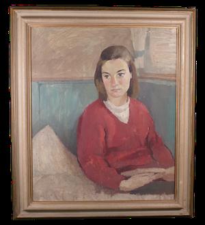 Oil on Board Portrait of Female in Red Sweater
