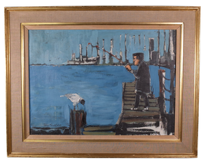 Oil on Canvas of Fisherman on a Dock with Seagull by Peter Shackleton
