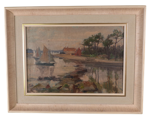 Oil on Canvas of Sailing Boats at Mudeford, Dorset
