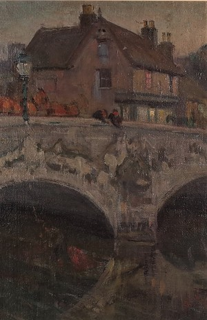 Oil on Canvas of Christchurch Bridge Over the Avon at Twilight