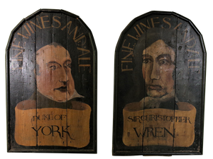 Two Whimsical Hand Painted Pub Signs of Sir Christopher Wren and The Duke of York