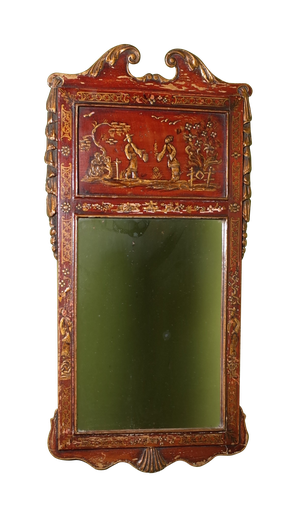 Regency Style Red Lacquered Chinoiserie Mirror