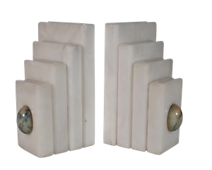 Alabaster Bookends each inset with an Onyx Egg