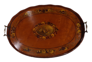 Mahogany Oval Gallery Tray with Floral Decoration