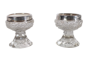 Pair of Cut Glass and Silver Rimmed Salts