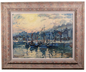 Oil on Canvas of Fishing Boats, signed Rob Guilbert