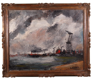 Oil on Board of Industrial Port, signed A M Davan