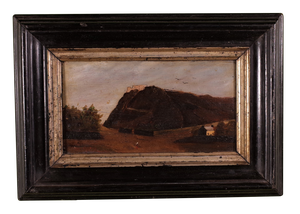 Small Oil on Panel of Fortress on a Hill