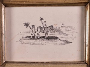 Small Comical Sketch with Donkey and Children in a Birds Eye Maple Frame