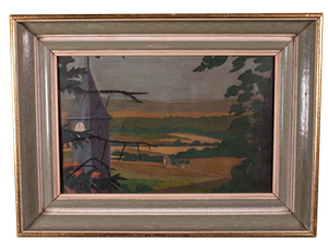 Oil on Board of Landscape with Spire