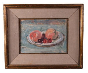 Oil on Board Still Life with Peaches in a Gilt Frame