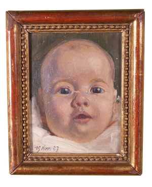 Oil on Board of Baby in Gilt Frame
