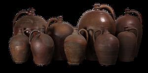 Nine Stoneware Jars