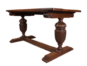 Jacobean Style Oak Dining Table with Carved Balluster Supports
