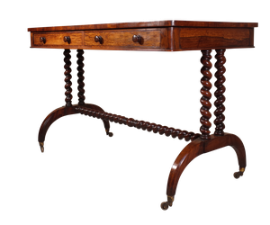 Rosewood Writing Table supported on Sabre Legs with Barley Twist Stretchers