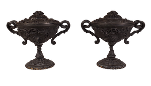 Pair of Lidded Spelter Tazzas Decorated with Vines and Grapes
