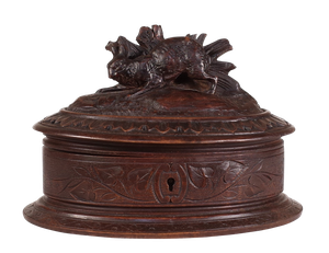 Black Forest Box with Hinged Lid Carved with Ivy Leaves and a Hare