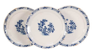 Three Delft Plates with Floral Design