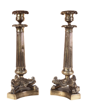 Pair of Bronze Candlesticks with Three Lion Feet