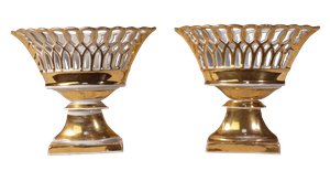 Pair of Gilt Glazed Lattice Ribbon Comports