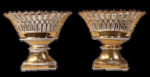 Pair of Gilt Glazed Lattice Ribbon Comports