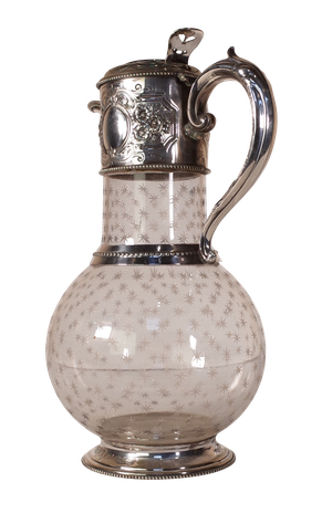 Star Cut Glass Claret Jug with Plated Collared Handle and Pourer