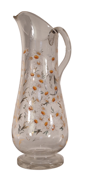 Tall Water Jug with Enamelled Daisy Decoration