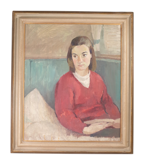 Oil on board Portrait of a Woman Seated with Book