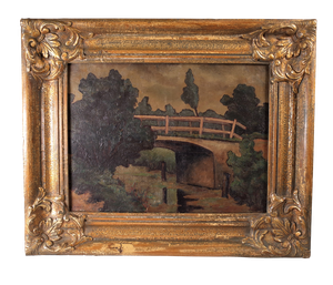 Oil on Canvas of Bridge over a River in Gilt Frame