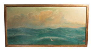 Oil on Canvas of Seascape with Gulls