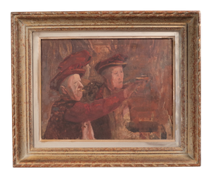 Unfinished Oil on Board Portrait of Two Men