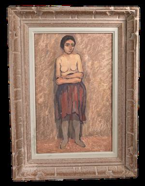 Unfinished Oil on Board Portrait of Woman
