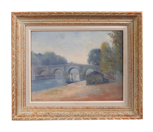 Oil on Canvas of The Seine Paris with Steam Boat