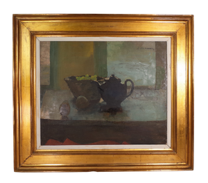 Oil on Canvas of Still Life with Teapot and Fruit in Gilt Frame