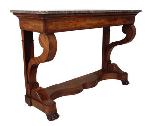 Marble Topped Walnut Veneered Console Table with Single Drawer