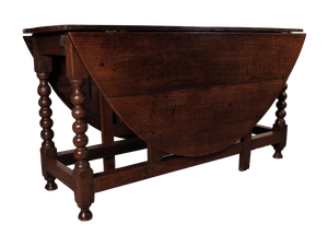 Oak Gateleg Table on Bobbin Leg Supports with Two Dropleaf Sides