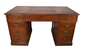 Oak Pedestal Desk with Leathered Lid Section