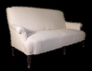 Napoleon III Three Seat Canope on Turned Ebonised Legs Upholstered in Antique Linen