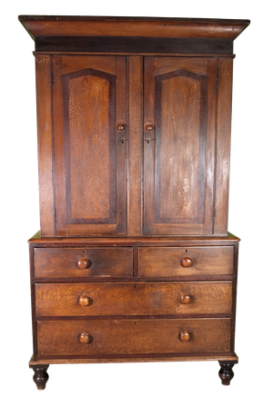 Housekeepers Pine Cupboard on Drawer Base with Original Faux Oak and Mahogany Paintwork