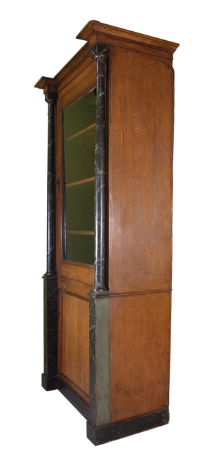 Pharmacy Cabinet with Original Paint and Faux Marble Wooden Columns