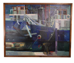 Oil on Canvas of Abstract Moored Boats