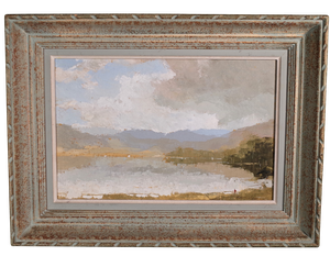 Oil on Board of Lake Scene with Figures Signed R M Tomlinson